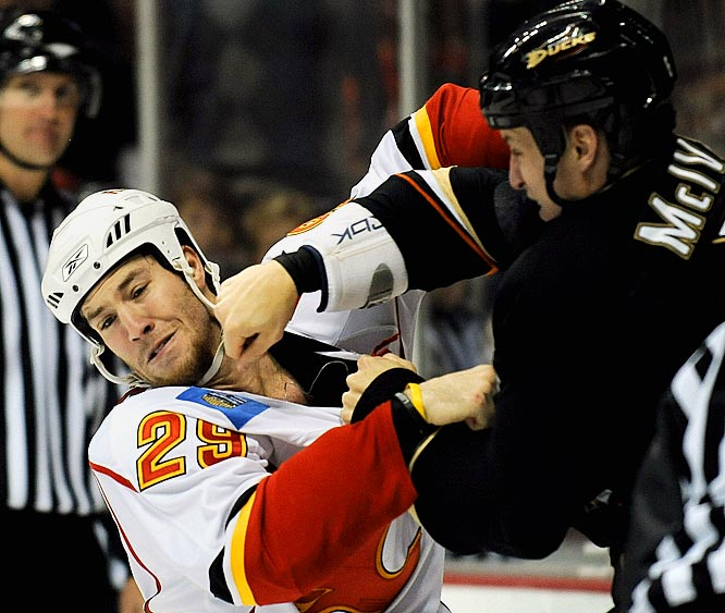 """It's both the easiest and hardest way to make your name in the NHL -- with your fists. Lacking a certain refinement to his skills package, Prust has embraced the role of sheriff in Calgary. He leads the league with nine majors, taking on some of the league's biggest bombers despite weighing in at less than 190. """"He'll take on anyone,"""" Dustin Boyd said. """"The guys appreciate that."""""""