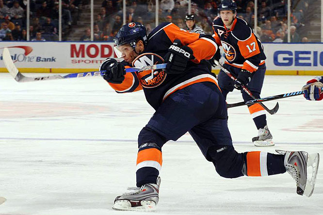 Recognizing the potential of the young power forward, Isles coach Scott Gordon placed Okposo on the first line alongside Doug Weight and Bill Guerin. Problem was, he was slotted on the left wing. His lack of comfort was there in the numbers. Despite leading all rookies in shots, he has just two goals in 16 games. Gordon blames typical rookie growing pains for Okposo's inconsistency, and is experimenting with him alongside fellow rookie Josh Bailey. You get the sense the coach is very hopeful for the winger's future...just not his immediate future.