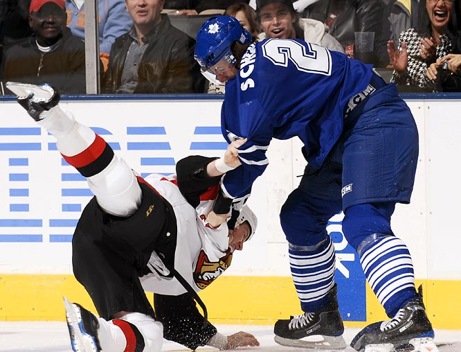 """Schenn, 19, who was drafted fifth overall last June, has taken his place among Toronto's top four defenseman each night. The 6' 2"""", 216-pound backliner has impressed his teammates with his edge, even slugging it out with heavyweights like Ottawa's Chris Neil. As Leafs forward Jamal Mayers said: """"He has some kohannas."""""""
