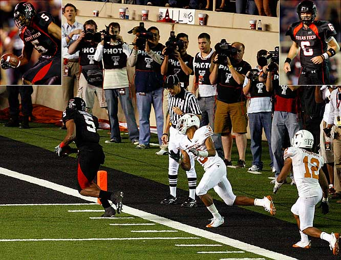 The succession of thoughts that went through my mind after Harrell (6) and Crabtree (5) connected on that last-second touchdown that gave Texas Tech an upset win over No. 1 Texas on Saturday in one of the greatest college football games ever: 1. Harrell just won the Heisman. 2. Crabtree just won the Biletnikoff...again. 3. No matter what else they do or how Texas Tech finishes the season, they'll be autographing pictures of that play and that game for the rest of their lives.