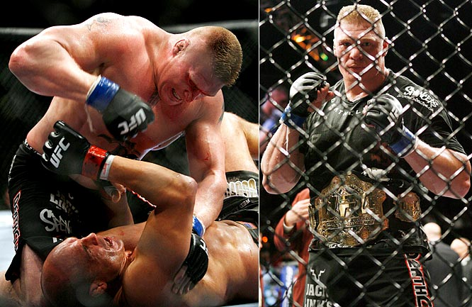 The former WWE champion and NCAA wrestling champion can now add UFC heavyweight champion to his resume. While his win against Randy Couture was a big moment for Lesnar and the UFC, I'm not sure what that says about the sport of MMA when a guy can win the world championship after just three matches and a 2-1 record. Not that I'd ever question Lesnar or his cinderblock fists, but I'm just saying.