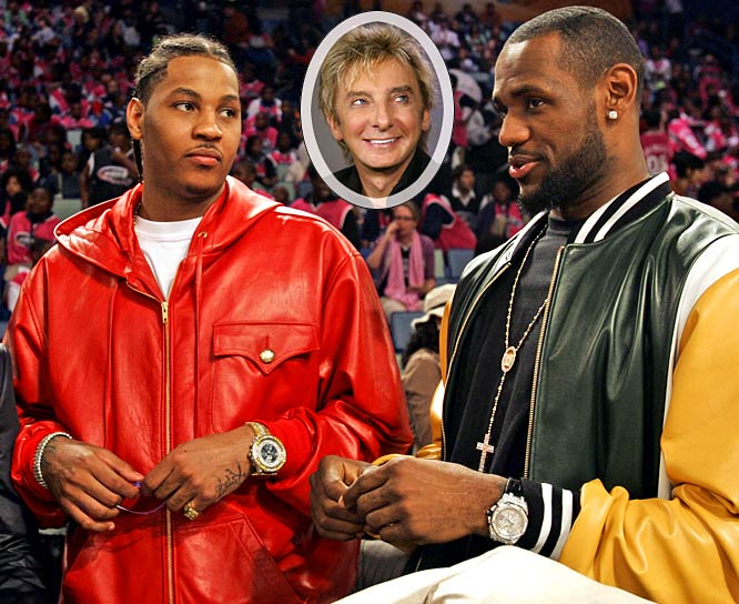 "King James and Melo might be friends with Jay-Z, but that doesn't mean they don't have a broad appreciation for music. When James was told that Anthony admitted to listening to Barry Manilow, James showed reporters his iPod, which features such Manilow hits as ""Copacbana,"" ""I Am Your Child"" and ""Mandy."" ""I got all the music,"" says James. ""I'll just decide to listen to Jay-Z now."" Yes, 'Bron, maybe you should just stick to that from now on."