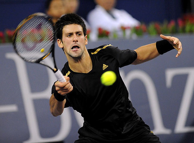 Djokovic plays Nikolay Davydenko in his second match of group play.
