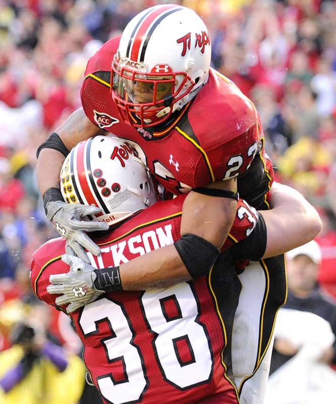 Da'Rel Scott (129 yards rushing, 1 TD) gets a much-needed boost after the Terrapins' upset home win. With two more victories, Maryland would advance to the ACC title game.