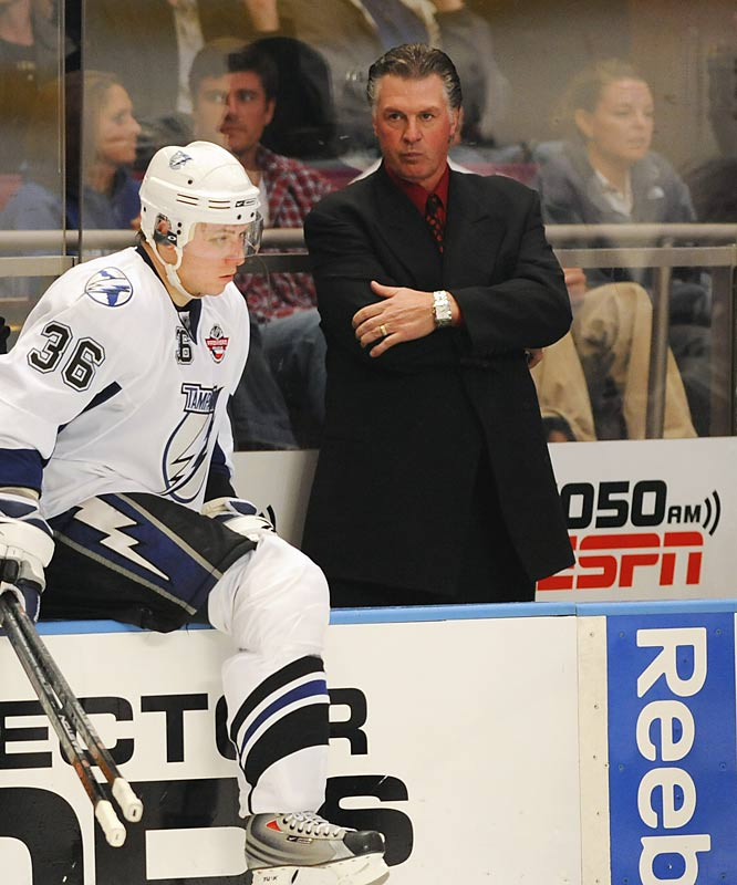 After 15 years away from the bench, ESPN's hockey mullet was hired by the Tampa Bay Lightning amid great fanfare and lasted all of 16 games before receiving a pink slip. Melrose later complained to Hockey Night in Canada that his players were a bunch of lazy, overpaid whiners, but the Bolts were in the basement mostly due to his antiquated system that moved team co-owner Len Barrie to visit the locker room during games and diagram plays.