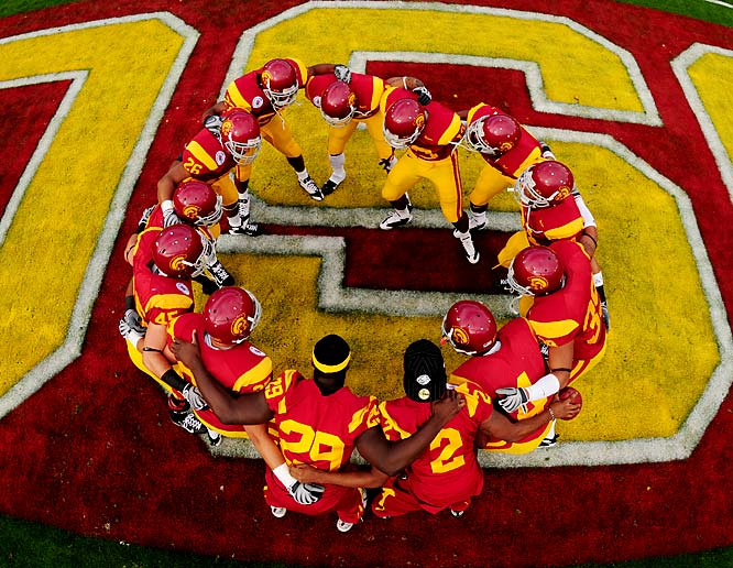USC players before their January Rose Bowl game against Illinois.