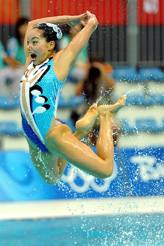 Japan's team performs in the team free routine final at the Beijing 2008 Olympic Games.