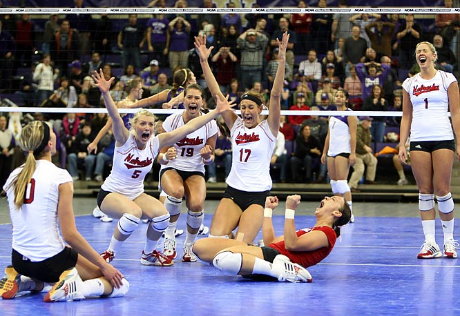 Nebraska players (from left) Jordan Larson, Rachel Schwartz, Tara Mueller, Amanda Gates, Kayla Banworth and Sydney Anderson celebrate their five-set regional victory over Washington. Nebraska lost the first two sets 25-14 and 25-23, but won the last three 25-17, 26-24, 15-13.