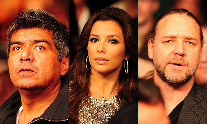 Comedian George Lopez, actress Eva Longoria and actor Russell Crowe were among the many celebrities in attendance (and in awe) as Pacquiao went to work.