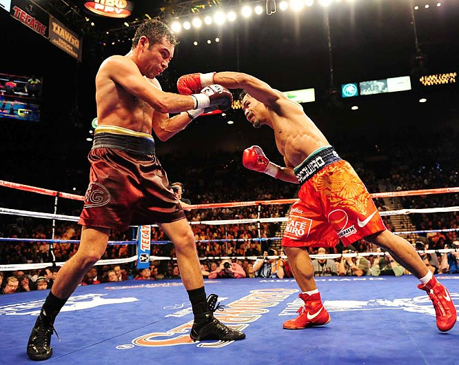 Instead of De La Hoya using his left jab to control the fight, it was the southpaw Pacquiao who used dozens of left-handed leads to punish the Golden Boy.