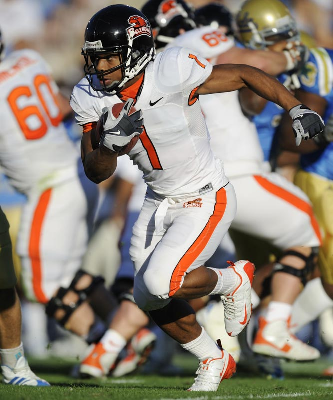 The 5-6 running back helped lead Oregon State to an 8-4 record, which included an upset win over No. 1 USC, in which Rodgers rushed for 186 yards and two touchdowns. For the season, he rushed for a Pac-10 freshman-record 1,253 yards and became the first freshman to win the conference's player of the year award.