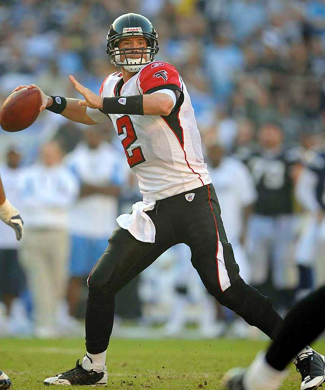 The third overall pick in the 2008 draft, Ryan took over the reins for a Falcons club still reeling from the Michael Vick debacle. Ryan's first ever NFL pass was a 62-yard touchdown strike to Michael Jenkins, and he's hardly slowed since. In leading the Falcons into the playoffs, Ryan threw for more than 3,200 yards and had tossed 15 touchdowns through 15 games.