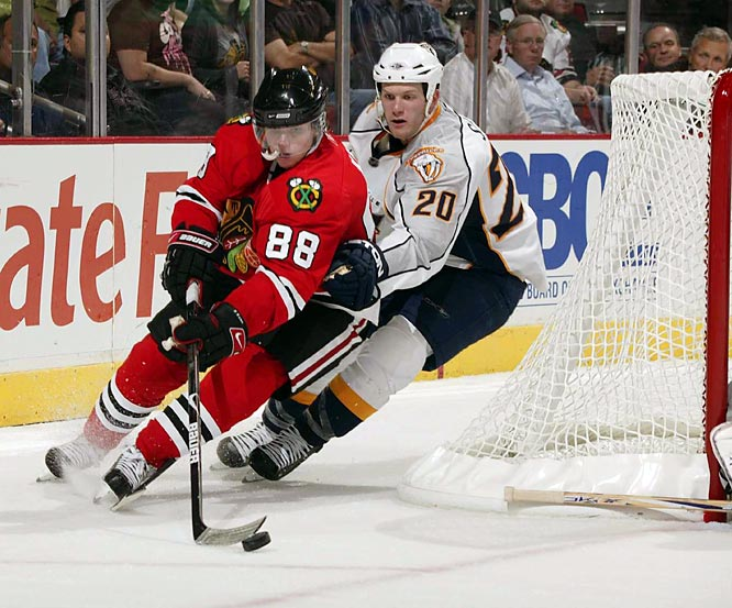 Two days after his NHL debut, Kane (88) notched his first assist and first shootout goal, a game winner against Dominik Hasek and the Detroit Red Wings. The right winger played all 82 games for the Blackhawks, scoring 21 goals and picking up 51 assists on his way to winning the Calder Trophy, which is given to the league's top rookie.