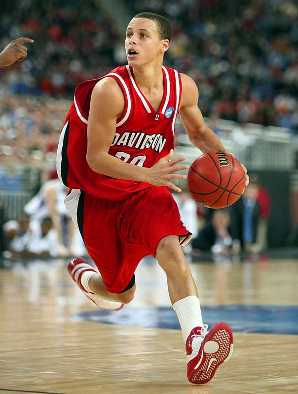 The 6-3 guard set an NCAA record for 3-pointers by a freshman in 2007, but exploded onto the national scene in 2008 as he led Davidson to the Elite 8. Curry posted 30 second-half points in the Wildcats' first round upset of Gonzaga -- the school's first tournament win since 1969 -- and carried them to wins over second-seeded Georgetown and third-seeded Wisconsin, before losing to the eventual national champion Kansas Jayhawks.
