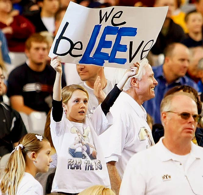 This BYU fan believes in BYU guard Lee Cummard.