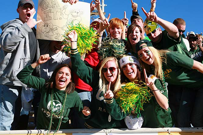 Colorado State fans cheer on their Rams during the New Mexico bowl.