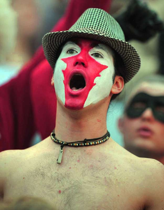 This 'Bama fan looks like he'd be right at home in the upcoming 'Watchmen' movie.