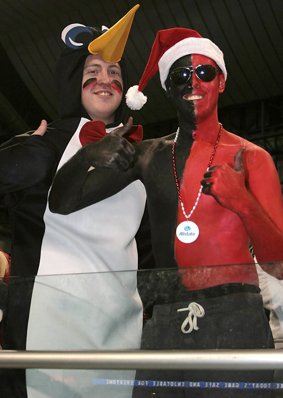 Proving that it's never a bad time to wear a penguin suit.
