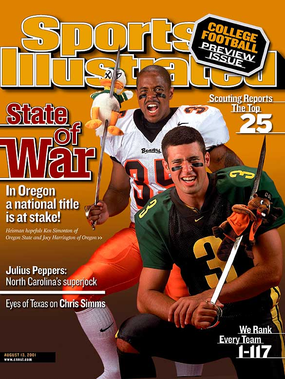 In SI's 2001 preview, Oregon QB Joey Harrington and Oregon State RB Ken Simonton were the frontrunners to win the Heisman. Harrington would go on to finish fourth while Simonton fell out of the Top 10 with a disappointing season.
