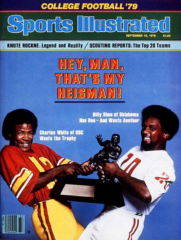 As the 1979 season began, the Heisman looked like a two-horse race between USC's Charles White and Oklahoma's Billy Sims. The prediction proved to be true as White, who led the nation with an average of 194.1 rushing yards per game, beat out Sims for the award.