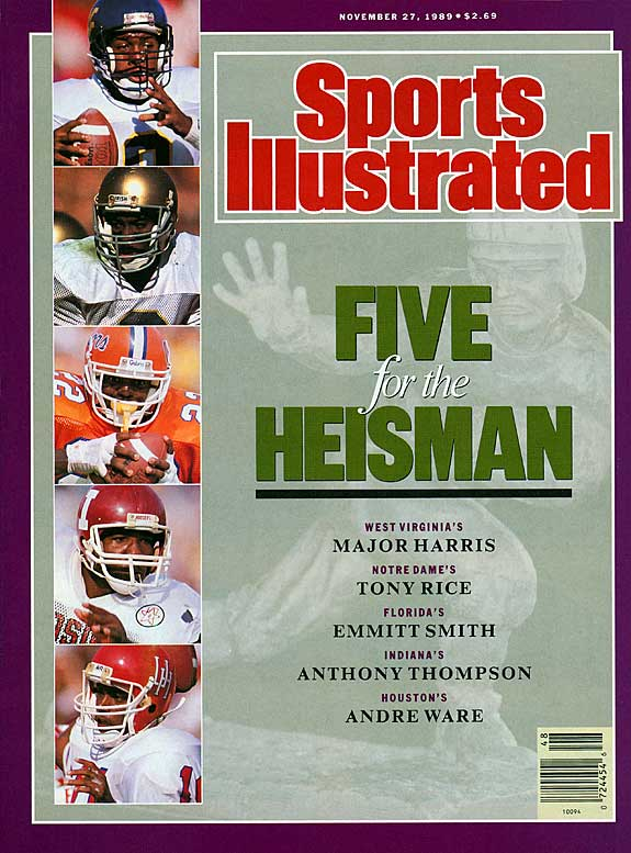 By late November of the 1989 season, the Heisman was a wide open race between West Virginia's Major Harris, Notre Dame's Tony Rice, Florida's Emmitt Smith, Indiana's Anthony Thompson and Houston's Andre Ware. Ware beat out Thompson (1,073 to 1,003) to claim the award. Smith, who would go on to have the best NFL career, finished seventh.