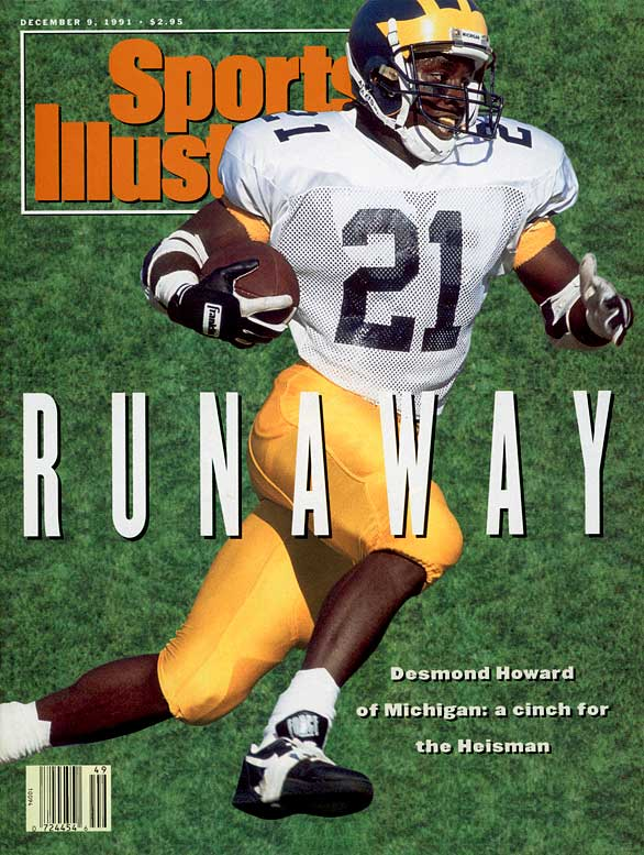The 1991 Heisman race was never close. Michigan's Desmond Howard, who caught 61 passes for 950 yards and 19 touchdowns ran away with the award, beating out Florida State's Casey Weldon, Brigham Young's Ty Detmer and Washington DT Steve Emtman