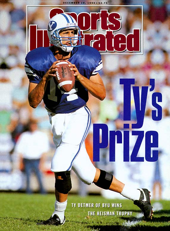 Ty Detmer's junior year still stands as one of the greatest seasons in college football history. The BYU quarterback passed for 5,188 yards and 41 touchdowns in 12 regular season games. Unfortunately for Detmer, the Cougars lost their final regular season game, 59-28, to Hawaii and were beat up by Texas A&M, 65-14, in the Holiday Bowl.