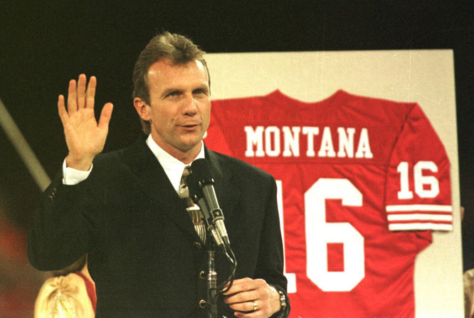 The San Francisco 49ers retire Joe Montana's No. 16 during halftime of a game against the Denver Broncos.