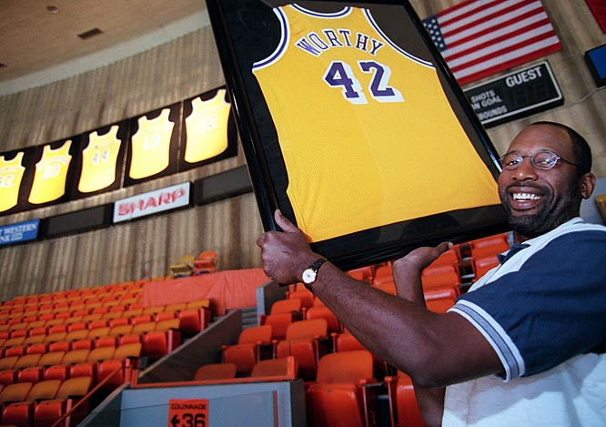 James Worthy became the sixth player in Los Angeles Lakers' history to have his number retired, when the team retired his No. 42 jersey at halftime of the game against Detroit at the Great Western Forum. Worthy, who played in 926 regular-season and 143 playoff games for the Lakers over 12 seasons, was also a member of NBA Championship teams in 1985, '87 and '88.