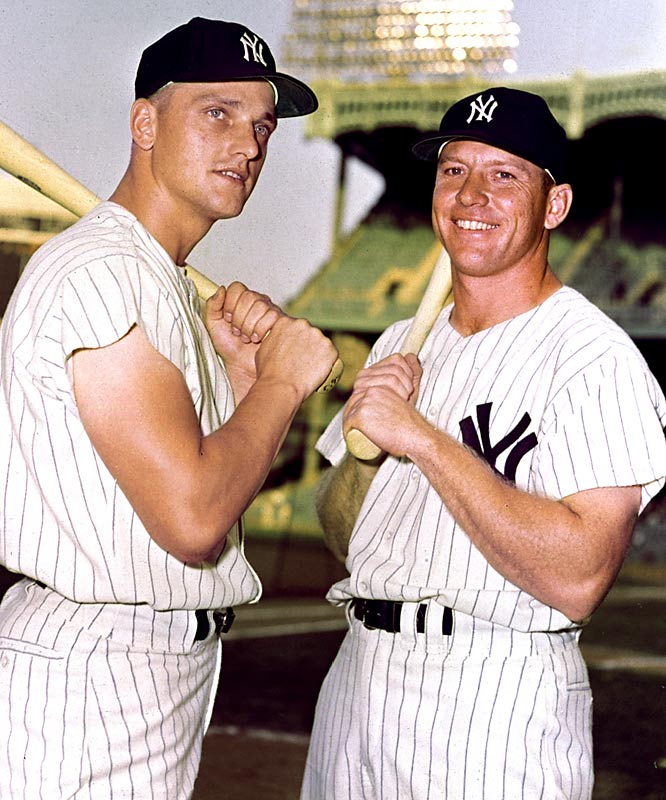 The Yankees trade Hank Bauer, Marv Throneberry, Don Larsen and Norm Siebern to the Kansas City A's for outfielder Roger Maris (left, with Mickey Mantle) and two other players.