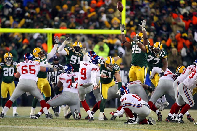 At a sub-zero degree Lambeau Field, Giants' kicker Lawrence Tynes had two fourth quarter chances to put Big Blue on top. He missed from 43 and 35-yards, and the game went to overtime. In the extra frame, Corey Webster intercepted Brett Favre's final pass as a Packer, and set up another chance for Tynes, who this time connected from 47 yards, giving the Giants a 23-20 win.