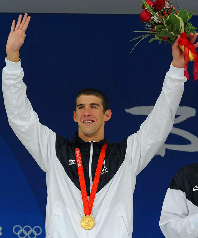 Phelps capped a record-setting Olympic Games with his seventh World Record in eight days in Beijing. Phelps swam the third leg of the 4x100 meter medley relay, and captured his eighth gold medal, breaking Mark Spitz's record of seven golds in one Games, which had stood since 1972.