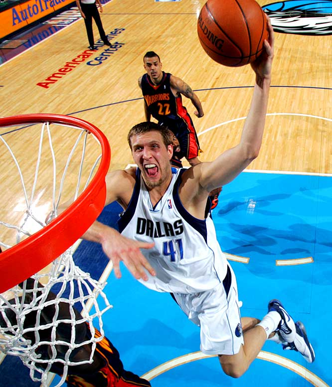 Dallas lost its first four games, immediately followed that skid with a 12-game winning streak and tacked on 13- and 17-game runs. But all the regular-season success, and Dirk Nowitzki's MVP award, were overshadowed by a first-round loss to Don Nelson's Warriors, who became the first No. 8 seed to knock off the No. 1 seed in a best-of-seven series.