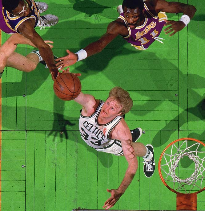 Larry Bird won the last of his three three consecutive MVP awards -- and added the Finals MVP honor for good measure -- in leading a group that included Kevin McHale, Robert Parish, Dennis Johnson, Danny Ainge and first-year Celtic Bill Walton. Bird paced the Celtics in scoring (25.8), rebounding (9.8), assists (6.8) and steals (2.0).
