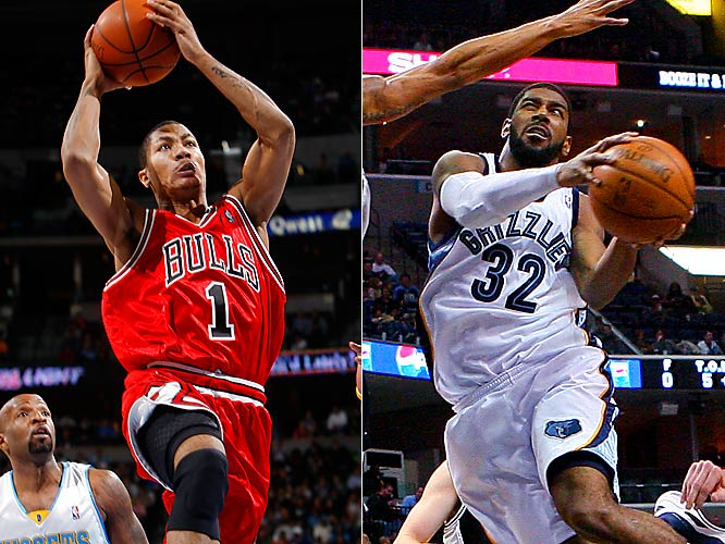 The Grizzlies entered the week ranked last in the NBA in attendance at 11,796 per game, but they figure to get a nice spike on this night as popular former University of Memphis standout Derrick Rose returns to the area. If the matchups fall right at certain times, the two early front-runners for Rookie of the Year -- Chicago's Rose and Memphis' O.J. Mayo -- could go head-to-head.