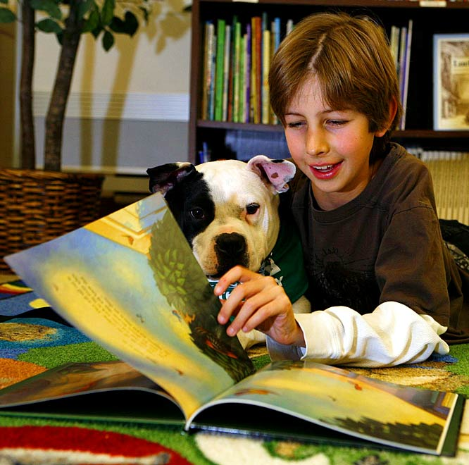 A good listener, Jonny helps Calvin feel more comfortable reading aloud.