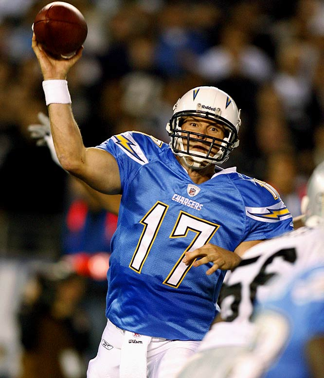 With LaDainian Tomlinson carrying the ball for 91 yards, Rivers was able to be economical as he picked apart the Raiders' defense. He threw the ball just 22 times, but racked up 214 yards and three touchdowns as the Chargers kept their slim playoff hopes alive.