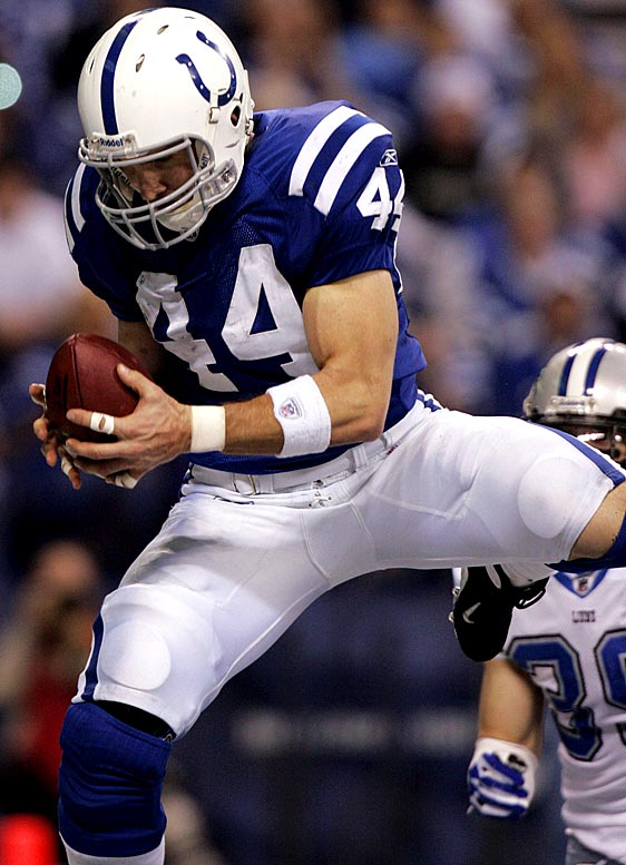 For most of Indy's game against Detroit, the Lions did a solid job covering the Colts' wide receivers. Unfortunately for Detroit, that left tight end Dallas Clark wide open across the middle. Clark finished with 12 receptions, a single-game franchise record for tight ends, 142 yards and a touchdown. He broke his single-season record for receptions by a tight end and set a career high with 684 yards.