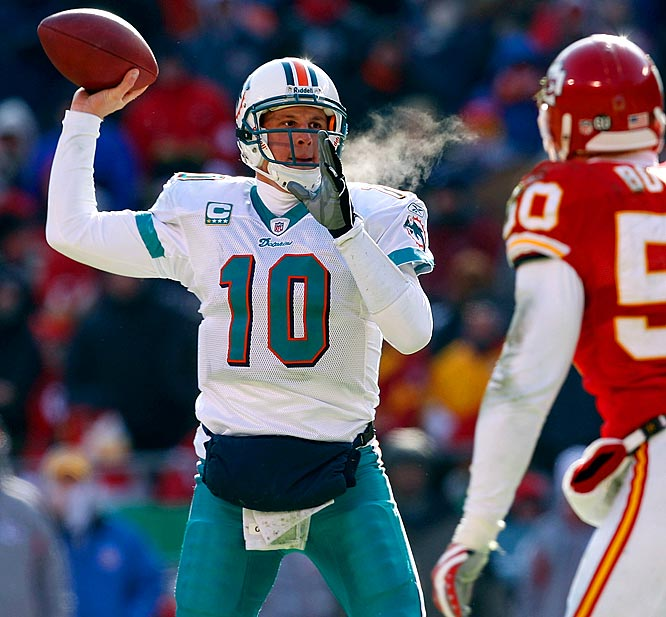 With a wind chill of minus-12, Pennington threw for 235 yards and three touchdowns, putting the Dolphins one step closer to one of the most improbable playoff appearances in league history.
