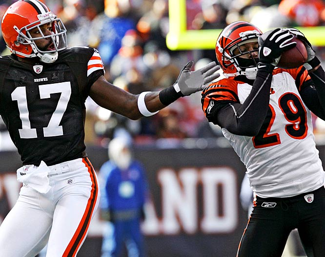 Browns quarterback Ken Dorsey couldn't get anything going Sunday, and Hall was a big reason why. Hall picked off Dorsey three times, and returned one of the interceptions 50 yards for a touchdown. They were the cornerback's first three interceptions of the season, after he tallied five during his rookie campaign.