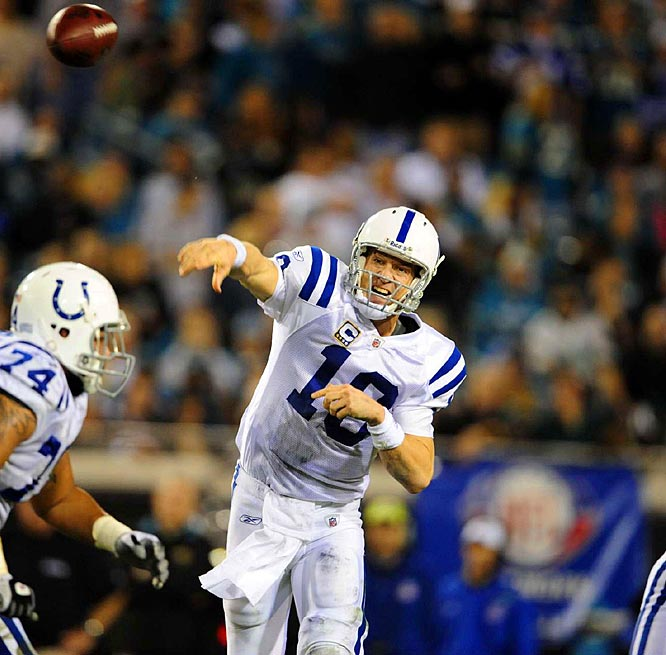 Manning completed his first 17 passes, picked apart Jacksonville's secondary and led the Colts to their eighth consecutive win and seventh straight playoff berth. He finished 29-for-34 and threw for 364 yards and three touchdowns as Indianapolis came up with 17 fourth-quarter points in its 31-24 win.