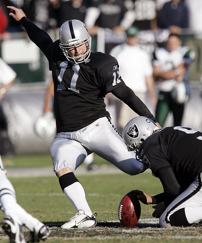With one kick, Janikowski set two records (the longest field goal in Raiders' history, and the longest overtime field goal in league history). His 57-yard kick gave the Raiders a 16-13 win over Brett Favre and the Jets, and gave interim coach Tom Cable his first win in Oakland.