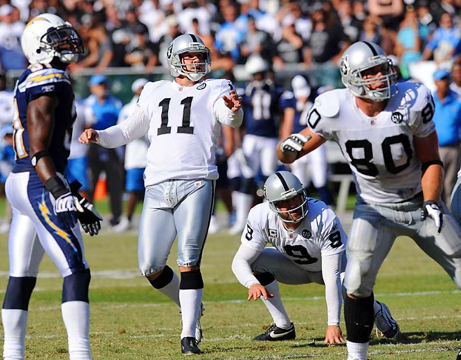 The ball ultimately didn't reach the goalposts (it didn't even reach the goal line), but in the closing seconds of the first half on Sept. 28, Oakland's Sebastian Janikowski attempted the longest field goal in NFL history -- a 76-yarder.