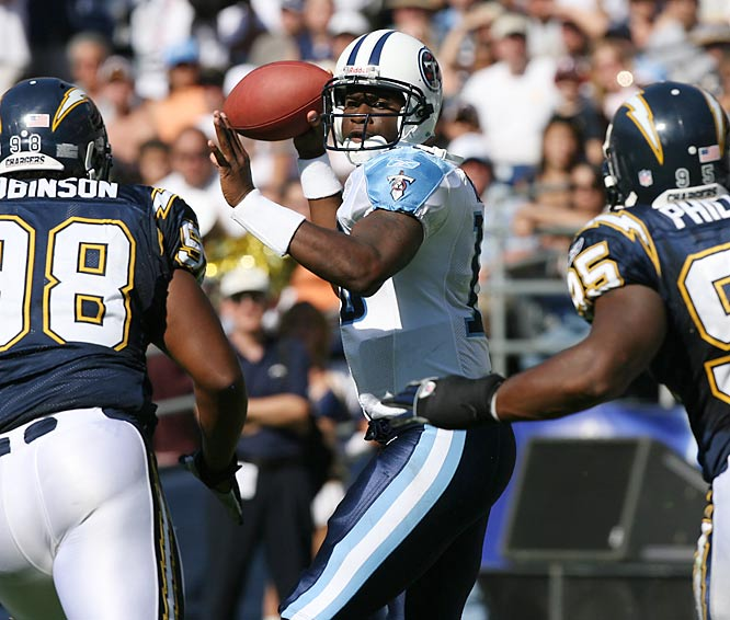 After winning the Davey O'Brien award and leading Texas to a national championship, Vince Young was drafted third overall by the Titans. He started 13 games in 2006, throwing for 2,199 yards and 12 touchdowns, while also setting the record for rushing yards by a rookie quarterback with 552.
