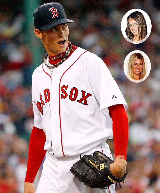 The Red Sox pitcher may have thrown a no-hitter last season, but he's pitching a perfect game off the field with the ladies. Earlier this year, his father was bursting with pride at the news that his son was dating a Penthouse Pet of the Year Erica Ellyson. Now it appears his son has moved on to Deal or No Deal model Lindsay Clubine. I like his progression from the D-list to C-list. I can't wait to see which B-list girl he'll move to next.