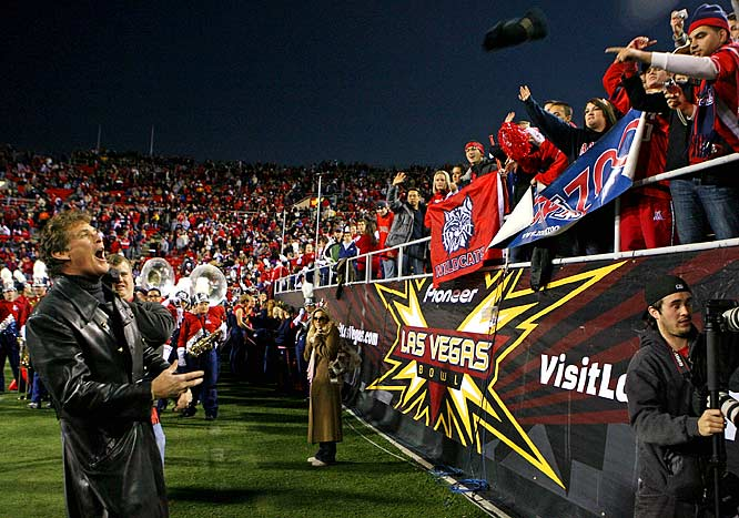 "The Hoff made a splash in September when he shot a viral video of himself attending his first Arizona football game with his daughter, Taylor-Ann, a freshman, and her friends. Shot for his website, ""Hoffspace,"" the actor said, ""We're going to our first U of A football game and we're all virgins."" After the Wildcats advanced to their first bowl game in 10 years, Hasselhoff was asked to sing the national anthem before the Las Vegas Bowl, which the Wildcats won. Unfortunately, this means at least three more years of Hoff sightings in Tucson."
