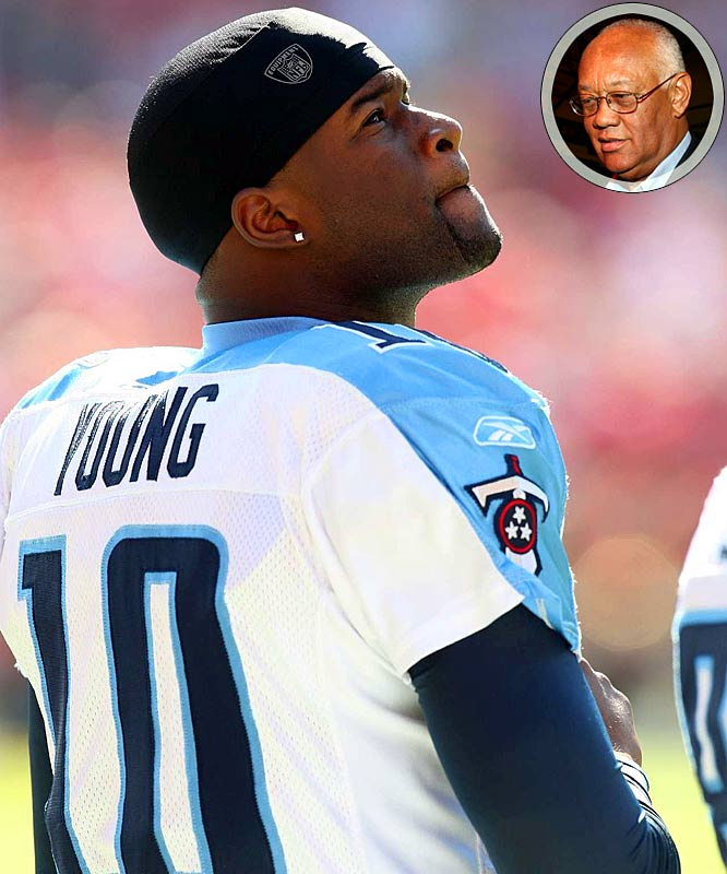 "With plenty of time on his hands, Young found something to keep him busy. He filed a federal trademark infringement suit against former Astros third baseman Enos Cabell (inset) and two other men, alleging they filed for trademarks to use his initials ""VY"" and nickname ""Invinceable"" without his permission. Yes, Young may not own the Titans starting quarterback job, but he believes he's entitled to the letters V and Y."