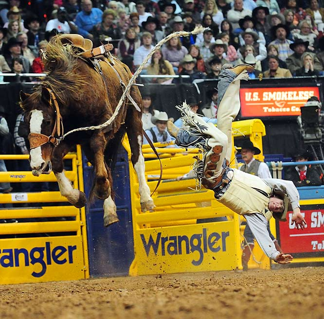Cowboys gathered in Las Vegas over the past weekend for the annual Wrangler National Finals Rodeo.  In this picture, 26-year-old NFR rookie Dusty Hausauer is thrown from Sock Dancer in the saddle-bronc competition where he finished sixth in the round and after the rest of the weekend's events were over, the rookie finished ninth overall. Justin McDaniel, Luke Branquinho, Matt Sherwood, Randon Adams, Cody Wright, Stran Smith, Lindsay Sears and J.W. Harris all earned the title of World Champion in their respective events as SI photographer Darren Carroll got down near the bucking broncos for the best shots.