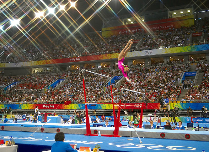 Nastia Liukin on the uneven bars on her way to winning the gold medal in the individual all-around.