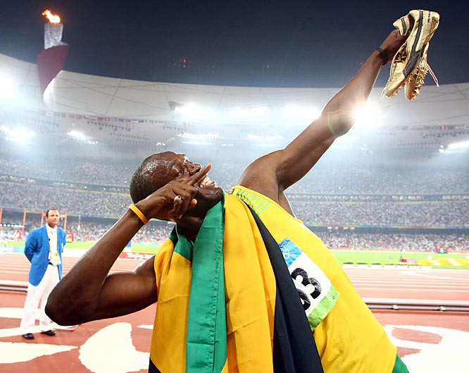 Usain Bolt after setting the world record in the 200 with a time of 19.30.